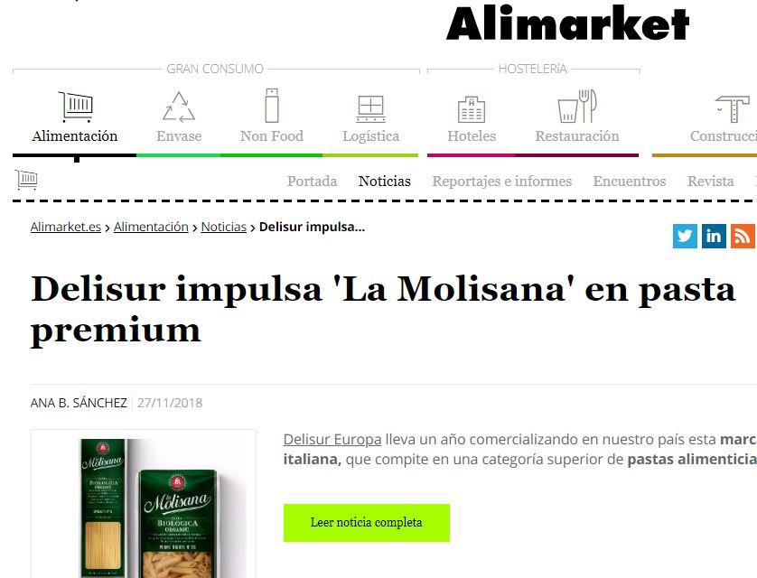 Delisur impulsa «La Molisana» en pasta Premium