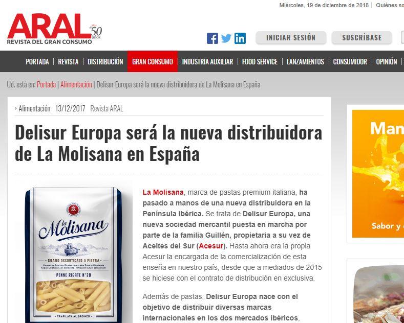Delisur Europa será la nueva distribuidora de La Molisana en España