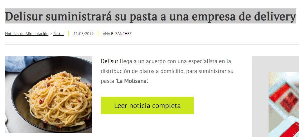 """Delisur suministrará la pasta """"La molisana"""" para elaborar los tuppers de Wetaca"""