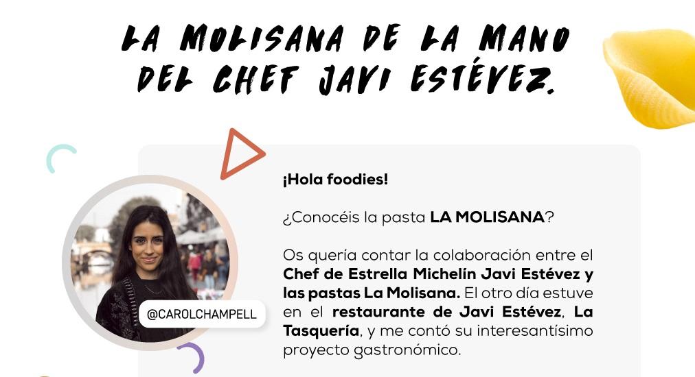 Carol Champell nos habla del nuevo proyecto de La Molisana con el chef Javi Estévez